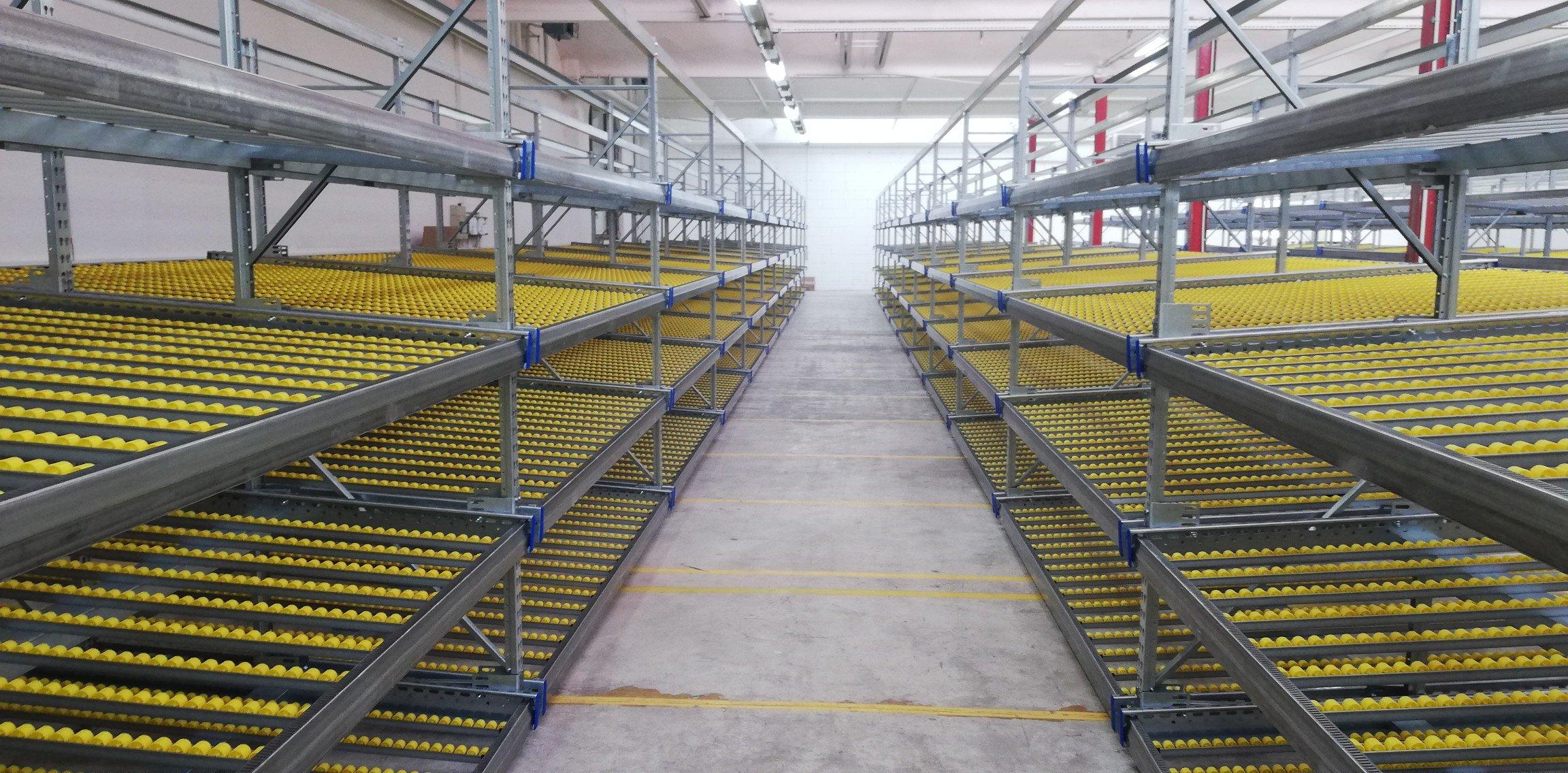 Live storage shelving tracks