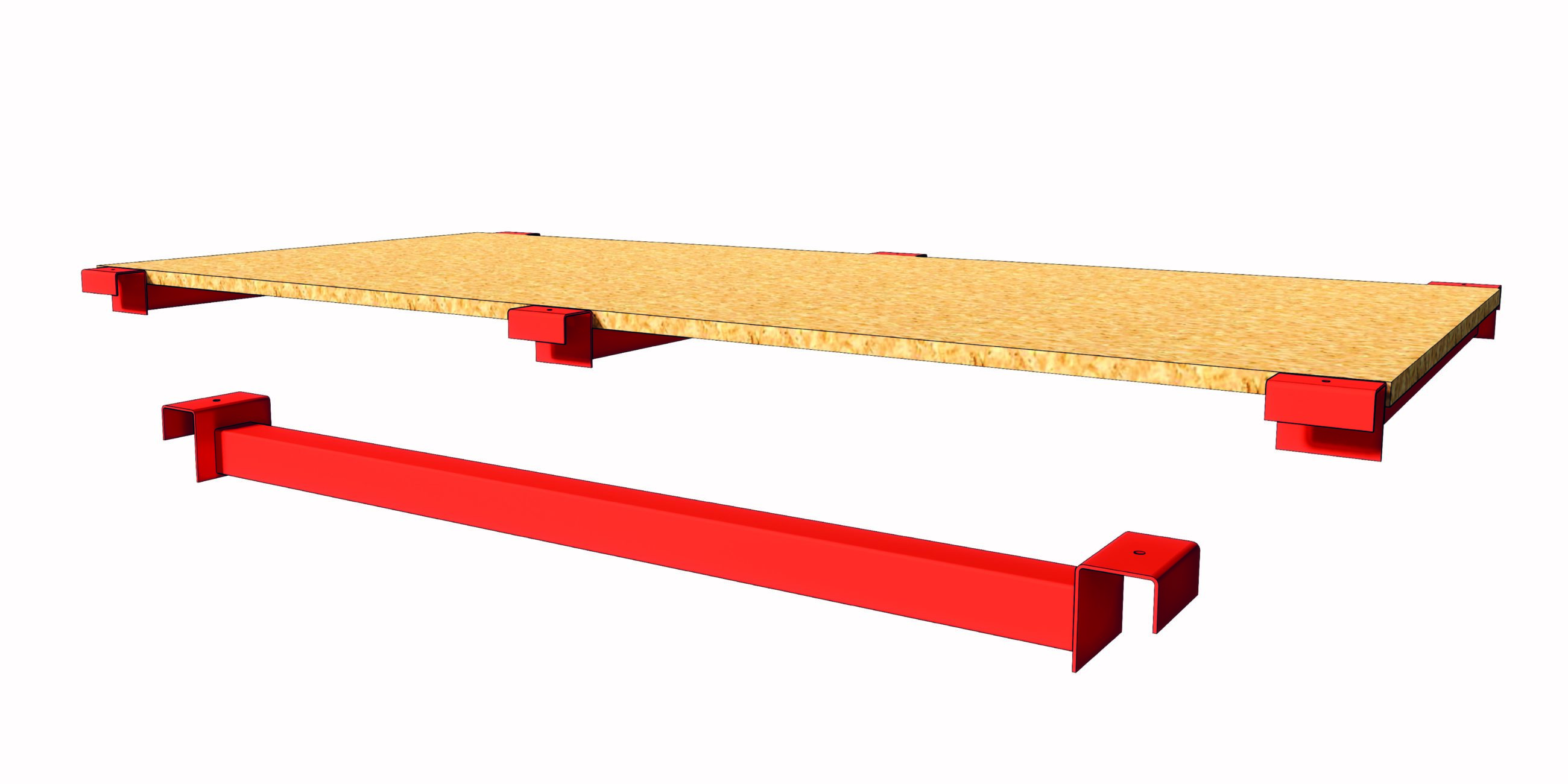 Palletstellingen steunprofiel houten legbord chipboard support