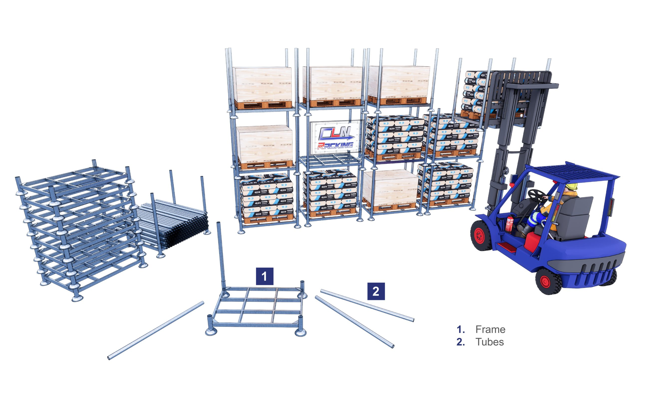 Stacking racks components